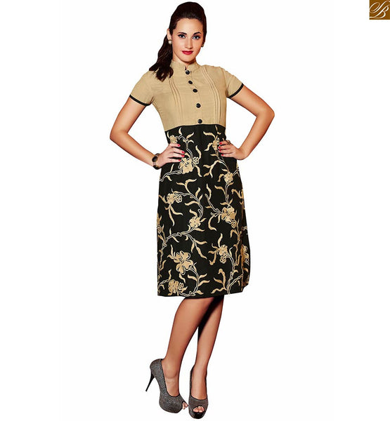 BUY PURE LINEN BEIGE AND BLACK COTTON KURTI DESIGNS 2015 BEST PATTERNS, HALF SLEEVED, HEAVY FLORAL EMBROIDERY  AT LOWER PART AND NICE LOOKING  BUTTONS AT NECK