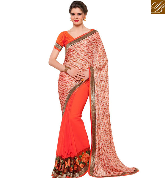 STYLISH BAZAAR STYLISH CREAM & ORANGE COLORED PRINTED HALF & HALF SAREE RTANT133