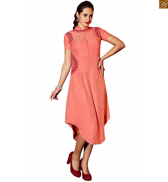 DESIGNER KURTI PATTERNS OF JACQUARD WITH EMBROIDERY AND COOLER TOP,  PEACH PURE LINEN JACQUARD INDIAN DESIGNER KURTI PATTERNS WITH  SMART EMBROIDERY AND DIFFERENT TYPE OF CUT AND SHAPE PAKISTANI KURTI STYLE