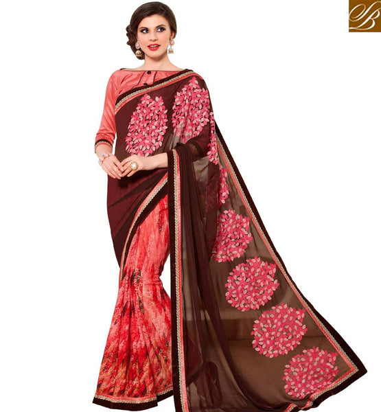 STYLISH BAZAAR BEAUTIFUL COFFEE & PEACH COLORED PRINTED HALF & HALF SAREE RTANT134