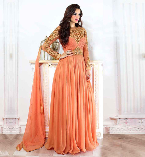 STYLISH BAZAAR FLOOR LENGTH GOWN STYLE SALWAR SUIT STUNNING GEORGETTE DRESS WITH SUPERB EMBROIDERY WORK ON NECK SLEEVE AND WAIST LINE