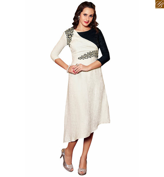 DESIGNER KURTIS 2015 BEST MIX AND MATCH PATTERN EMBROIDERED TOP | LATEST STYLE OF DESIGNER KURTIS 2015 BEST OFF-WHITE AND BLACK MIX AND MATCH PATTERN CONTRAST EMBROIDERY AND DIFFERENT TYPE OF CUT AND STYLISH SHAPE OF HIGH LOW ON EITHER SIDE