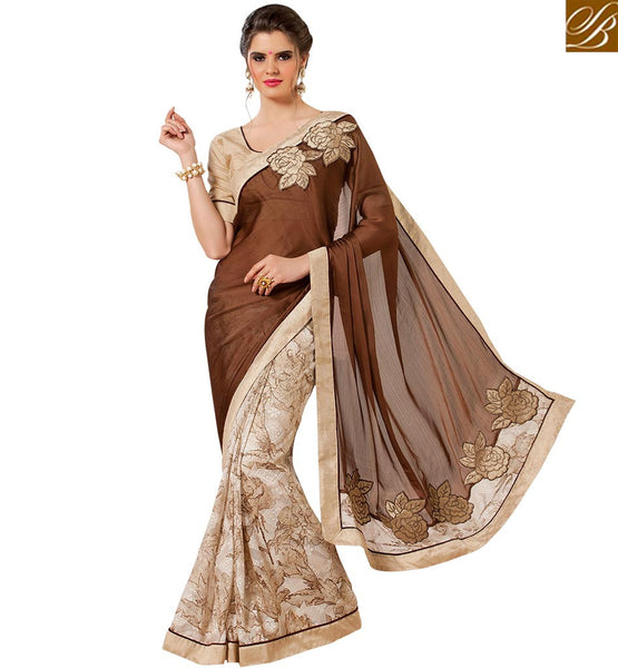 STYLISH BAZAAR LAVISHING COFFEE & CREAM COLORED HALF & HALF SAREE WITH EYE CATCHING EMBROIDERY WORK RTANT135