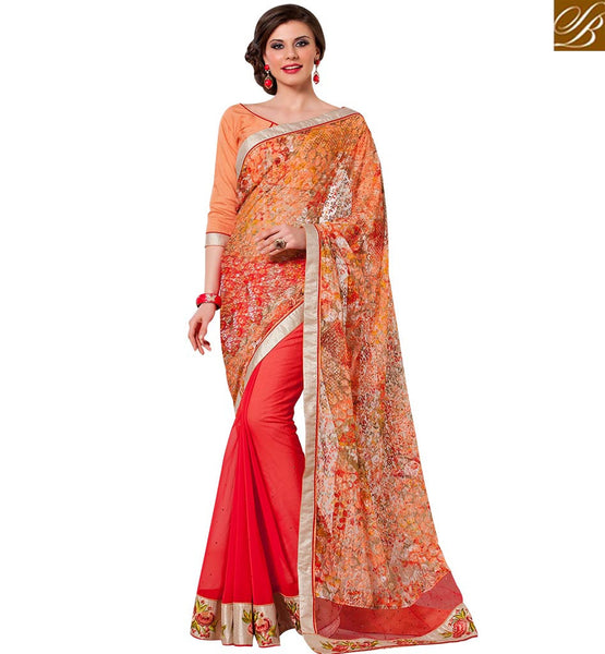 STYLISH BAZAAR TRENDY DESIGNER ORANGE & RED COLORED PRINTED NET SAREE RTANT136