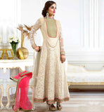 ETERNAL STYLE DESIGNER WEDDING PARTY WEAR ANARKALI STYLISH GEORGETTE TOP WITH EXCITING DETAILING ON NECKLINE AND NET MATERIAL SLEEVES
