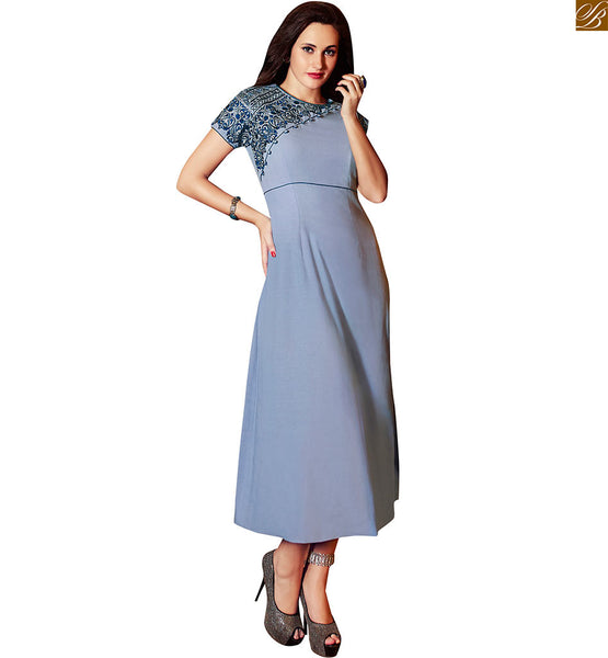 PURE LINEN LONG STYLISH KURTI WITH SPLENDID LATEST STYLE OF ONE SIDE EMBROIDERY ON NECK AND SLEEVES   BLUE FLORAL HEAVY EMBROIDERY FLOWING FROM NECK LINE TO SLEEVE ON GREY COLOR LONG CHARMING LOOKING STYLISH KURTI