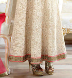 FLORAL THREAD WORK ON THE ENTIRE LENGTH OF THE KAMEEZ WITH RICH BORDER ON HEMLINE ETERNAL STYLE DESIGNER WEDDING PARTY WEAR ANARKALI