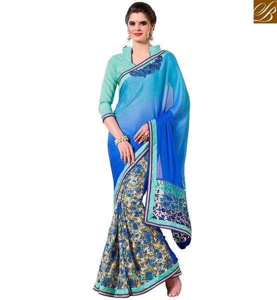 STYLISH BAZAAR EYE CATCHING DESIGNER BLUE & SKY BLUE COLORED SATIN ART SILK SAREE RTANT137