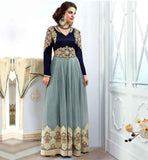 FLORENCE COLLECTION DESIGNER PARTY WEAR SALWAR SUIT SUPERB COMBINATION OF GEORGETTE AND VELVET WITH SMART COLOR USAGE