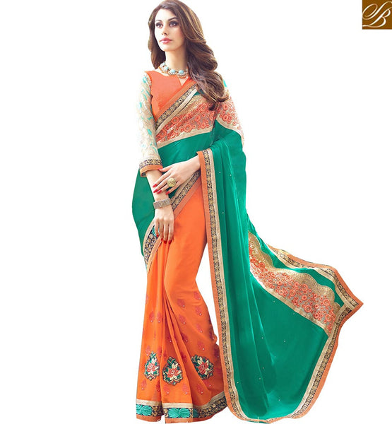 A STYLISH BAZAAR PRESENTATION STRIKING FLORAL DESIGNED SAREE AND BLOUSE RTSPL13804