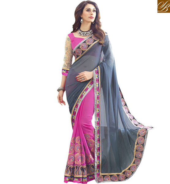 A STYLISH BAZAAR PRESENTATION REMARKABLY EMBROIDERED PARTY WEAR SAREE RTSPL13812