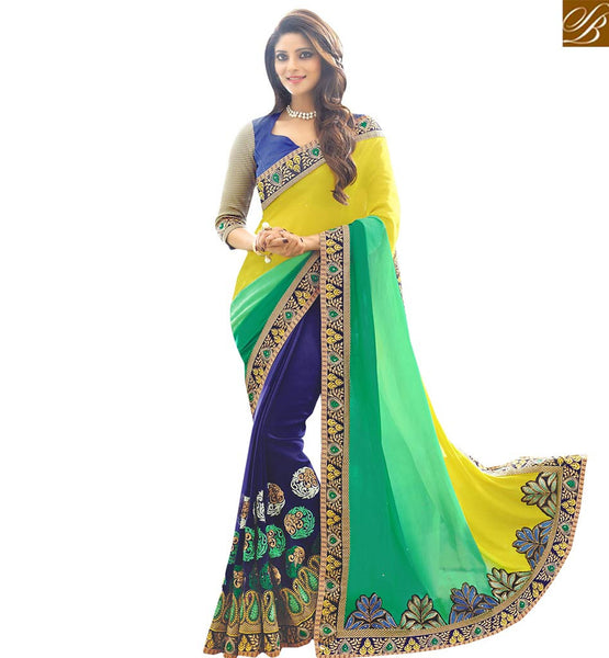 A STYLISH BAZAAR PRESENTATION NOTEWORTHY DESIGNER EMBROIDERED SAREE AND BLOUSE RTSPL13815