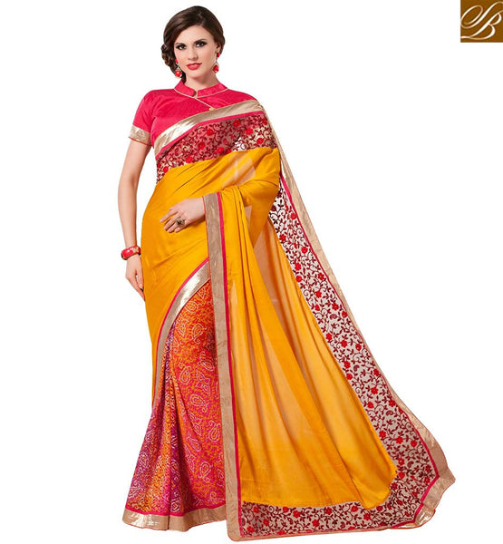 STYLISH BAZAAR PRECIOUS DESIGNER MUSTARD & PINK COLORED SAREE WITH GLITTERY BORDER WORK RTANT138