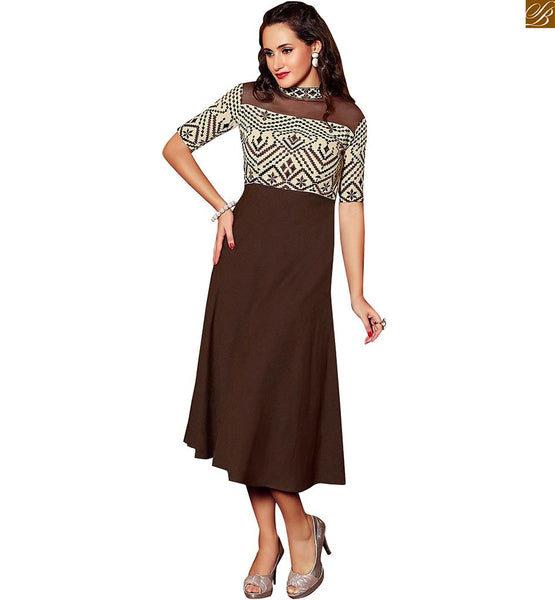 CONTEMPORARY HEAVY PATCH TYPE EMBROIDERY OF GEOMETRY FIGURES PATTERNS ON PURE LINEN'S PAKISTANI KURTI  FABULOUS LOOKING CHINESE HIGH COLLAR, CHEST AND SLEEVES OF DESIGNER KURTI WITH HIGH LOW SHAPE