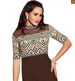ZOOMED HD IMAGE OF PAKISTANI KURTI EMBROIDERED GEOMETRICALLY ON COLLAR CHEST AND SLEEVES