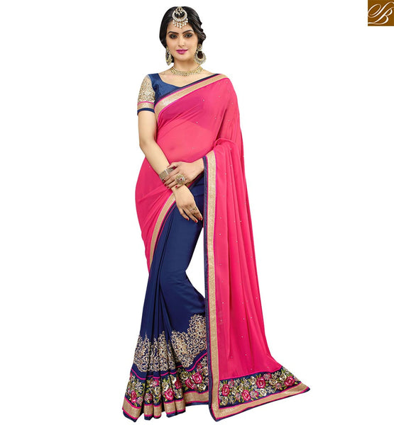 STYLISH BAZAAR GORGEOUS LATEST DESIGNER HALF AND HALF SAREE RTSPN13916