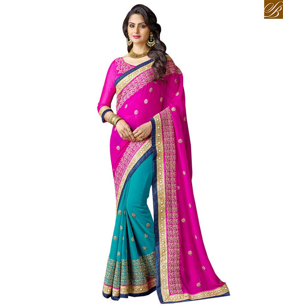 STYLISH BAZAAR APPEALING INDIAN PARTY WEAR HALF AND HALF SAREE RTSPN13918