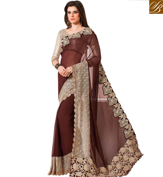 STYLISH BAZAAR RICH LOOKING COFEE & CREAM COLORED SAREE WITH LAVISHING BORDER WORK RTANT139