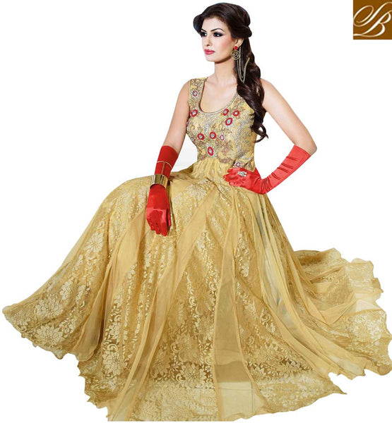 EXTRA-ORDINARY NET FLOOR LENGTH EVENING WEAR GOWN FROM STYLISH BAZAAR VDDVN13