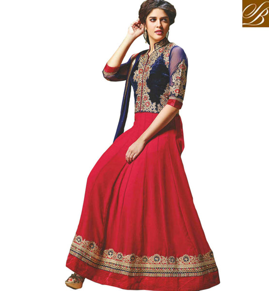 EYE-CATCHING MAROON AND BLUE JACKET LOOK ANARKALI