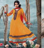 Bhagyashree in Orange Anarkali Salwar kameez dress.