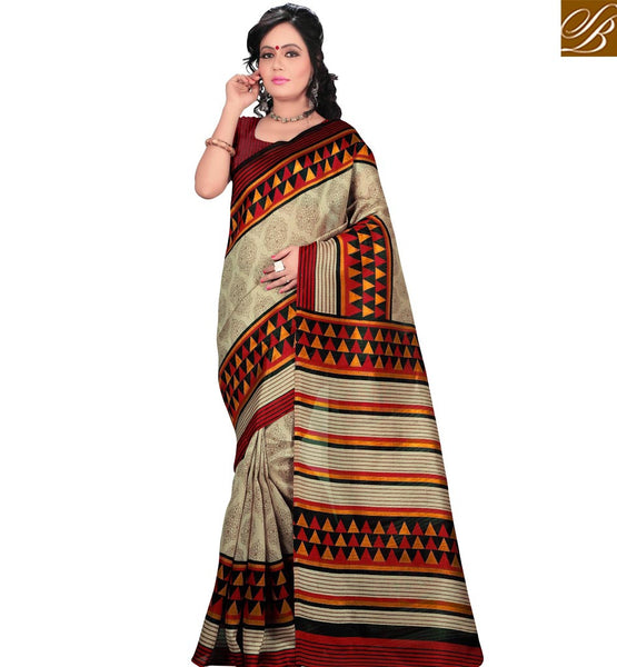 STYLISH BAZAAR PRESENTS GORGEOUS CREAM AND MAROON PRINTED SARI BLOUSE DESIGN RTVAN13