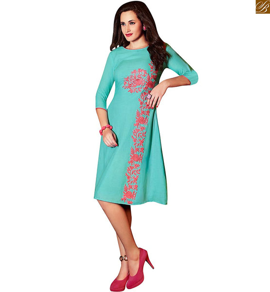 SELECTED FROM COLLECTION OF PURE LINEN DESIGNER KNEE LENGTH LONG KURTIS PATTERNS LOOKS ALLURING, CONTRAST DUSTY PINK HEAVY FLORAL EMBROIDERY ON NECK LINE AND SIDE LINE OF SKY BLUE KURTI WITH PIPPING AT NECK LINE & SLEEVES.