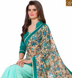 A STYLISH BAZAAR PRESENTATION ELEGANT DESIGNER SKY BLUE COLORED GEORGETTE NET PRINTED SAREE RTANT140