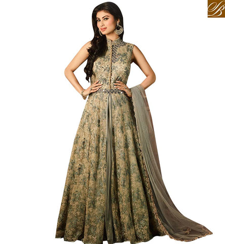 PRESTIGIOUS GREY NET DESIGNER ANARKALI SALWAR KAMEEZ HAVING WELL EMBROIDERY WITH SLIT CUT SLAR14001