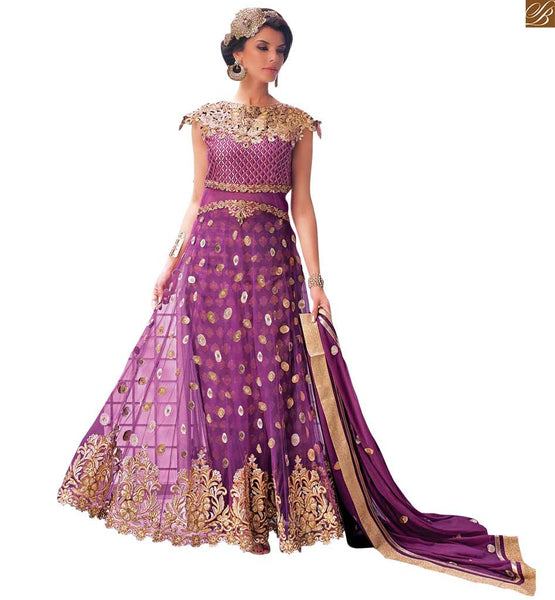 STYLISH BAZAAR STYLISH BAZAAR ROYAL PURPLE DESIGNER EMBROIRED SALWAR KAMEEZ FROM ZOYA ELITE PFEL14002