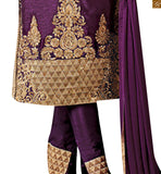 Style and comfort best describe this dress for today's women.featuring art silk kameez in purple and georgette sleeves with lovely resham embroidery, heavy zari work, stone work and lace border. Bottom in santoon with zari and resham work, paired with pure chiffon dupatta Pic