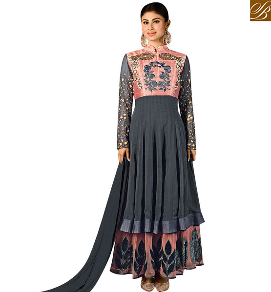STYLISH BAZAAR BECKONING GREY GEORGETTE DESIGNER ANARKALI SALWAR KAMEEZ HAVING EMBROIDERED SLEEVES WITH CHINESE COLLAR SLAR14002