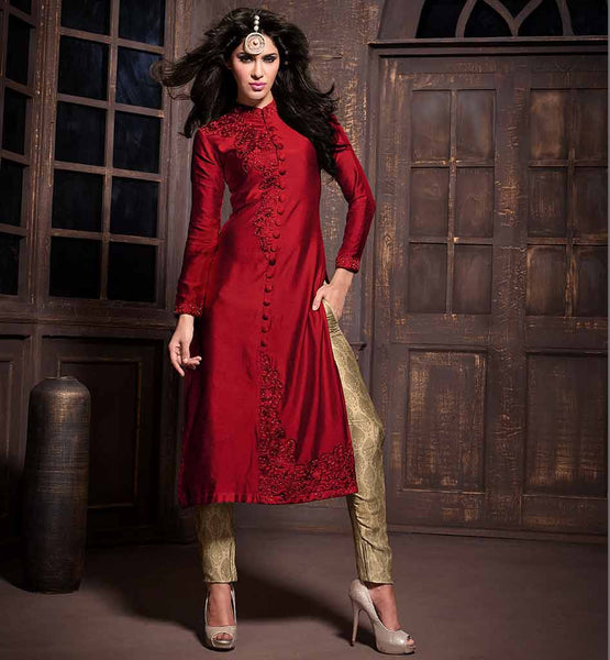 STYLISH HIGH NECK SHERWANI STYLE BUTTON PATTERN SILK SALWAR KAMEEZ