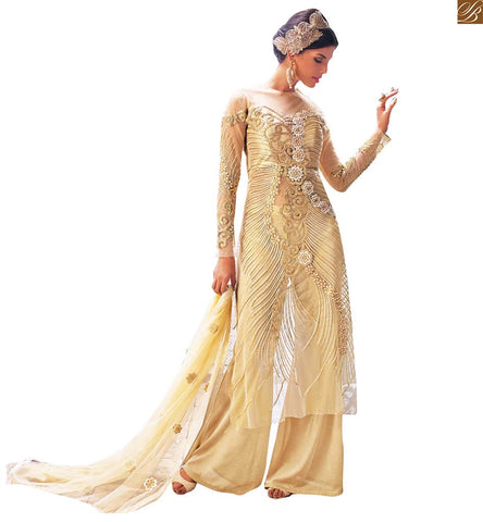 FROM THE HOUSE OF STYLISH BAZAAR AMAZING BEIGE COLORED HEAVILY EMBROIDERED DESIGNER SALWAR KAMEEZ WITH DUAL BOTTOM PFEL14003