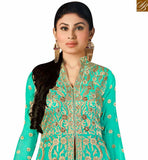 SHOP SKY BLUE GEORGETTE MOUNI ROY DESIGNER SALWAR SUIT HAVING LOVELY EMBROIDERY WITH LEHENGA STYLE SLAR14003
