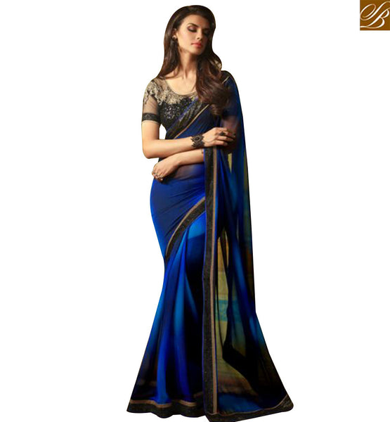 STYLISH BAZAAR WONDERFUL BLUE GEORGETTE DESIGNER SAREE WITH BLACK EMBROIDERED BLOUSE SLTFH14003A