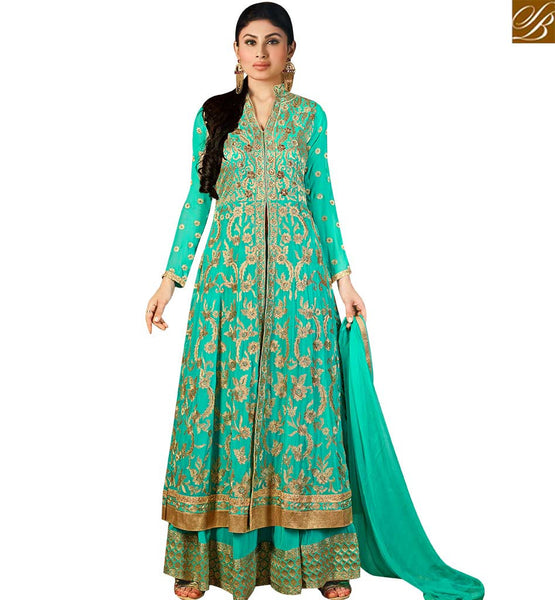 STYLISH BAZAAR SHOP SKY BLUE GEORGETTE MOUNI ROY DESIGNER SALWAR SUIT HAVING LOVELY EMBROIDERY WITH LEHENGA STYLE SLAR14003