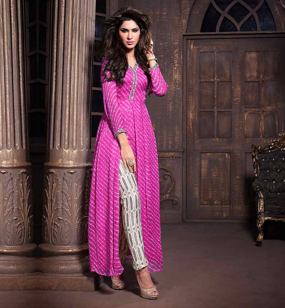RICH EMBROIDERED SILK SALWAR WITH DUPATTA AND PRINTED CHIFFON KAMEEZ