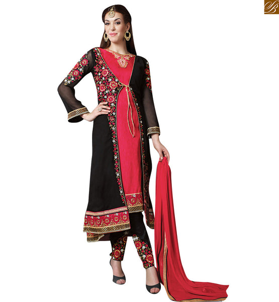 Karachi style straigt salwaar kameez with black jacket attractive hues of pink and black, intricate resham work and heavy zari embriodery make this dress, from house of stylish bazaar Pic