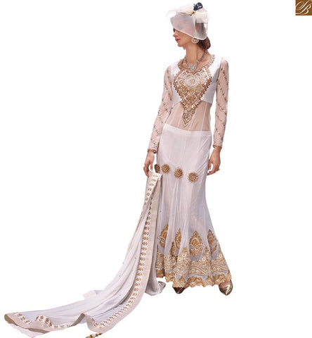ZOYA ELITE ANGELIC PRINCESS WHITE EMBROIDERED DESIGNER FLOOR LENGTH SALWAR KAMEEZ PFEL14005
