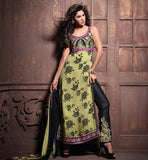 STYLISH FLORAL PRINTED STRAIGHT KAMEEZ EMBROIDERED BOTTOM & DUPATTA