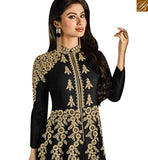 STYLISH BAZAAR INTRODUCES TV SERIAL ACTRESS MOUNI ROY BLACK GEORGETTE HEAVY EMBROIDERED DESIGNER ANARKALI SALWAR KAMEEZ SLAR14006