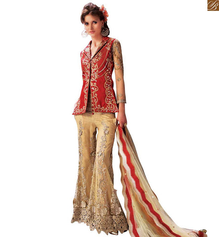 STYLISH BAZAAR IMPERIAL RED KOTI STYLE DESIGNER SALWAR KAMEEZ BY ZOYA ELITE PFEL14006