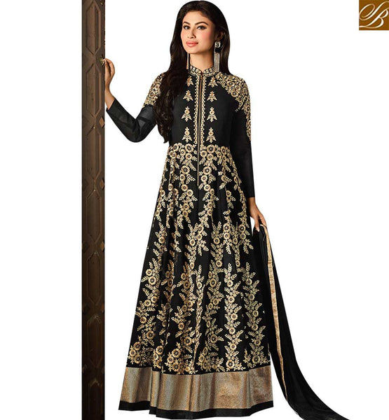 STYLISH BAZAAR TV SERIAL ACTRESS MOUNI ROY BLACK GEORGETTE HEAVY EMBROIDERED DESIGNER ANARKALI SALWAR KAMEEZ SLAR14006