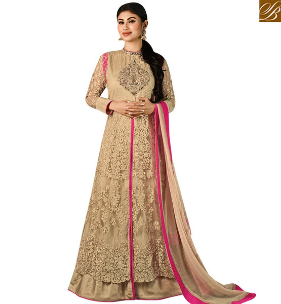 STYLISH BAZAAR SHOP CREAM NET HEAVY EMBEDDED MOUNI ROY DESIGNER ANARKALI SALWAR SUIT WITH RESHAM EMBROIDERY SLAR14007