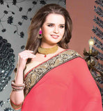 DUSTY PINK-CREAM GEORGETTE & PURE COTTON SPECIAL OCCASION WEAR SAREE