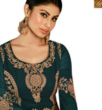 FROM STYLISH BAZAAR TV SERIAL ACTRESS MOUNI ROY GREEN GEORGETTE EMBROIDERED ANARKALI SALWAR KAMEEZ WITH SLIT CUT SLAR14008B