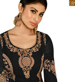 FROM THE HOUSE OF STYLISH BAZAAR TV SERIAL ACTRESS MOUNI ROY BLACK GEORGETTE EMBROIDERED ANARKALI SALWAR KAMEEZ WITH SLIT CUT SLAR14008C