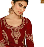 BROUGHT TO YOU BY STYLISH BAZAAR STYLISH BAZAAR TV SERIAL ACTRESS MOUNI ROY RED GEORGETTE EMBROIDERED ANARKALI SALWAR KAMEEZ WITH SLIT CUT SLAR14008D