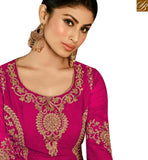 A STYLISH BAZAAR PRESENATATION TV SERIAL ACTRESS MOUNI ROY PINK GEORGETTE EMBROIDERED ANARKALI SALWAR KAMEEZ WITH SLIT CUT SLAR14008E